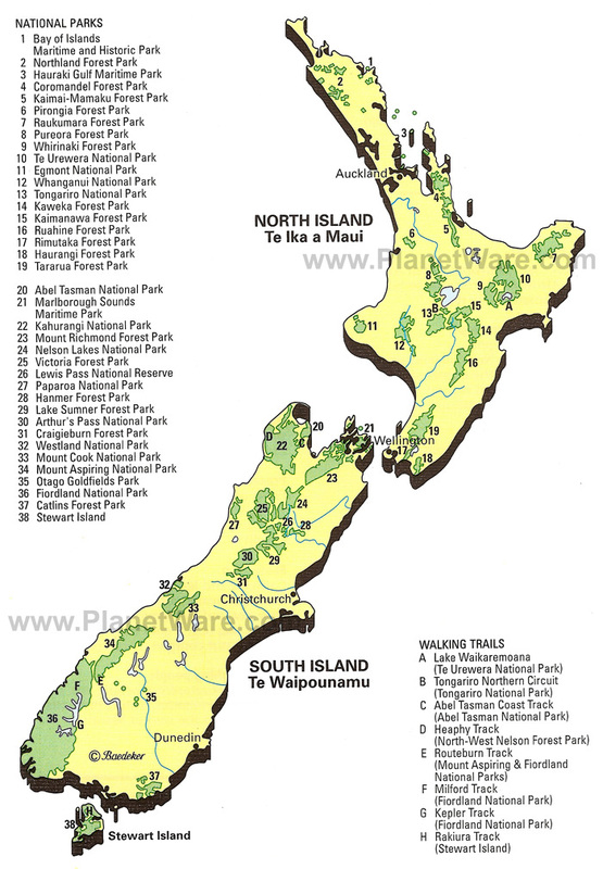 Physical Features Map Of New Zealand.Physical Geography And Environment
